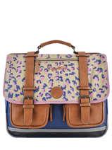 Satchel For Girls 3 Compartments Cameleon Multicolor vintage print girl VIG-CA41