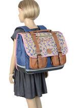 Satchel For Girls 3 Compartments Cameleon Multicolor vintage print girl VIG-CA41-vue-porte
