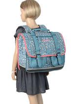 Satchel For Girls 3 Compartments Cameleon Blue vintage print girl VIG-CA41-vue-porte