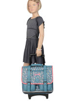 Wheeled Schoolbag For Girls 2 Compartments Cameleon Blue vintage print girl VIG-CR38-vue-porte