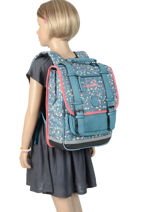 Backpack For Girls 2 Compartments Cameleon Blue vintage print girl VIG-SD38-vue-porte