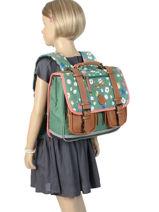 Satchel For Girls 2 Compartments Cameleon Green vintage print girl VIG-CA35-vue-porte