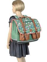 Satchel For Girls 3 Compartments Cameleon Green vintage print girl VIG-CA41-vue-porte