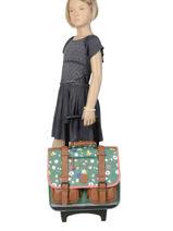 Wheeled Schoolbag For Girls 2 Compartments Cameleon Green vintage print girl VIG-CR38-vue-porte