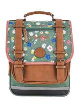 Backpack For Girls 2 Compartments Cameleon Green vintage print girl VIG-SD38