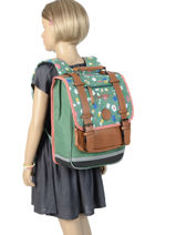 Backpack For Girls 2 Compartments Cameleon Green vintage print girl VIG-SD38-vue-porte