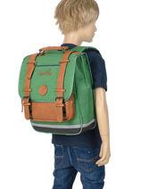 Backpack For Kids 2 Compartments Cameleon Green vintage chine VIN-SD38-vue-porte