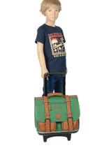 Wheeled Schoolbag For Kids 2 Compartments Cameleon Green vintage chine VIN-CR38-vue-porte