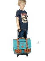 Wheeled Schoolbag For Kids 2 Compartments Cameleon Blue vintage chine VIN-CR38-vue-porte