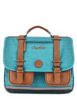 Cartable Enfant 3 Compartiments Cameleon Bleu vintage chine VIN-CA41