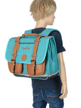 Cartable Enfant 2 Compartiments Cameleon Bleu vintage chine VIN-CA38-vue-porte