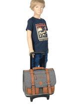 Wheeled Schoolbag For Boys 2 Compartments Cameleon Gray vintage print boy VIB-CR38-vue-porte