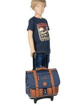 Wheeled Schoolbag For Boys 2 Compartments Cameleon Blue vintage urban VIB-CR38-vue-porte