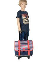 Wheeled Schoolbag For Boys 2 Compartments Cameleon Blue vintage print boy VIB-CR38-vue-porte
