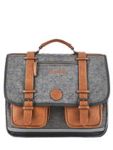 Satchel For Boys 3 Compartments Cameleon Gray vintage print boy VIB-CA41