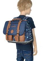 Satchel For Boys 2 Compartments Cameleon Blue vintage print boy VIB-CA38-vue-porte