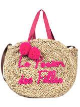 Round Straw Shopping Bag Le voyage en panier Pink panier PM348