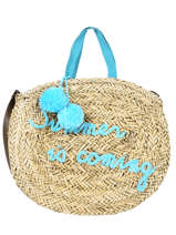 Round Straw Shopping Bag Le voyage en panier Blue panier PM348