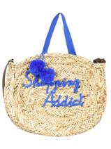 Round Straw Shopping Bag Le voyage en panier Blue panier PM348