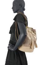 Backpack Irisé Raffia Le voyage en panier White irise PM290-vue-porte