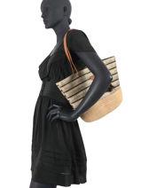 Shoulder Bag Boubou Raffia Le voyage en panier Black esprit boubou PM306-vue-porte