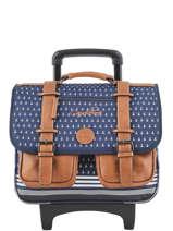 Wheeled Schoolbag For Boys 2 Compartments Cameleon Blue vintage print boy VIB-CR38