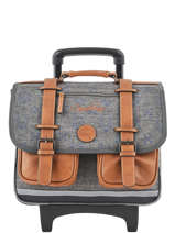 Wheeled Schoolbag For Boys 2 Compartments Cameleon Gray vintage print boy VIB-CR38