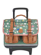 Cartable à Roulettes Fille 2 Compartiments Cameleon Vert vintage print girl VIG-CR38