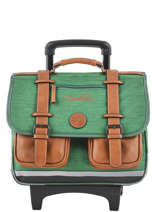 Wheeled Schoolbag For Kids 2 Compartments Cameleon Green vintage chine VIN-CR38