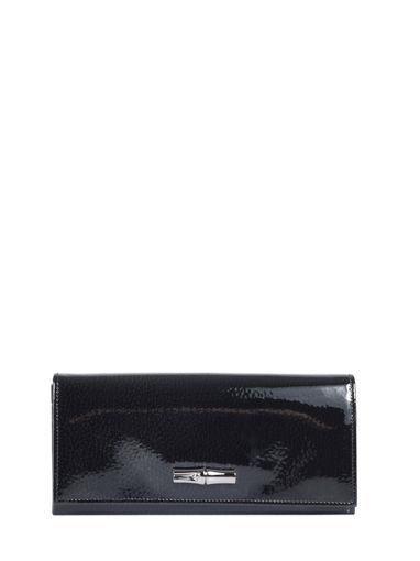 Longchamp Roseau vernis Portefeuilles Noir