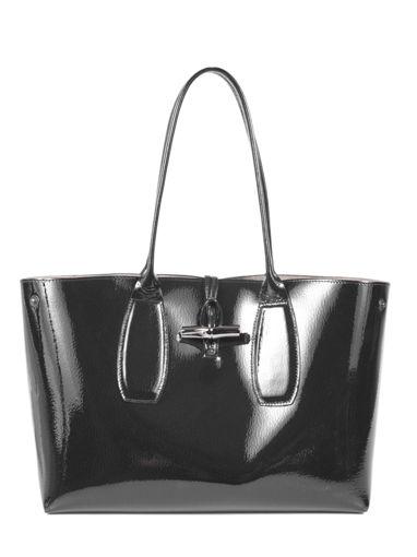 Longchamp Roseau vernis Besaces Noir