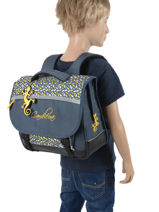 Satchel For Kids 2 Compartments Cameleon Blue basic BAS-CA35-vue-porte