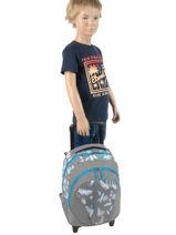 Wheeled Backpack For Kids 2 Compartments Cameleon Gray basic BAS-SR43-vue-porte