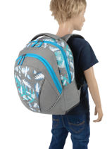 Backpack For Kids 2 Compartments Cameleon Gray basic BAS-SD43-vue-porte