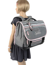 Satchel For Kids 3 Compartments Cameleon Gray basic BAS-CA41-vue-porte