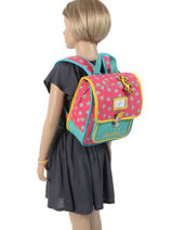 Backpack Cameleon Pink retro RET-SD30-vue-porte