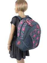 Backpack For Kids 2 Compartments Cameleon Blue basic BAS-SD43-vue-porte