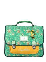 Satchel For Kids 2 Compartments Cameleon Green retro RET-CA35