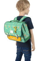 Satchel For Kids 2 Compartments Cameleon Green retro RET-CA35-vue-porte