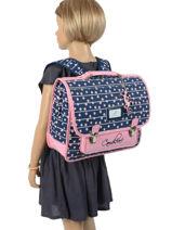 Satchel For Kids 2 Compartments Cameleon Blue retro RET-CA35-vue-porte