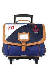 Wheeled Schoolbag 2 Compartments Tann's Blue fantaisie garcon 20-42229