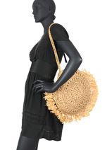 Raffia Shoulder Bag Beach Miniprix Brown beach BV20181-vue-porte