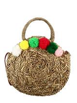 Straw Handbag With Pompoms Miniprix Multicolor paille 22104323