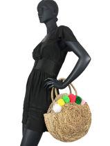 Straw Handbag With Pompoms Miniprix Multicolor paille 22104323-vue-porte
