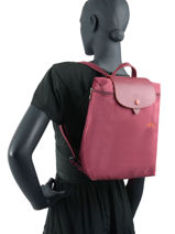 Longchamp Le pliage club Backpack Red-vue-porte