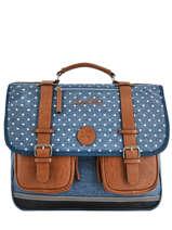 Wheeled Schoolbag For Girls 3 Compartments Cameleon Blue vintage print girl PBVGCA41