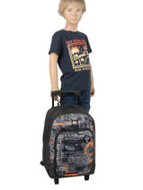 Wheeled Backpack Quiksilver Gray youth access kids QBBP303S-vue-porte