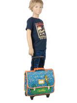 Wheeled Backpack Cameleon Blue retro RET-CR35-vue-porte