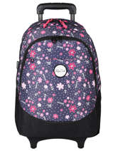Wheeled Backpack 2 Compartments Rip curl Blue floral LBPRK4F2