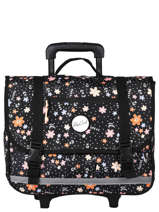 Wheeled Schoolbag 2 Compartments Rip curl Black floral LBPRJ4F2